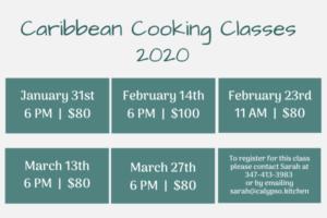 Caribbean Cooking Class Schedule